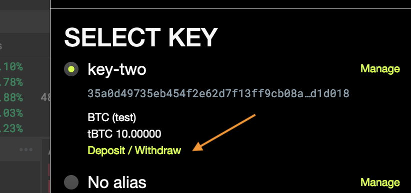 Console: Withdraw tokens